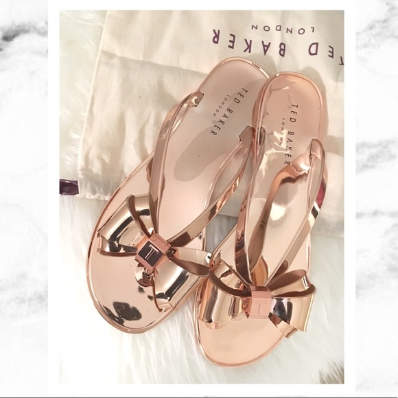 d8b6b99a91eb Ted Baker Rose Gold Bow Sandals